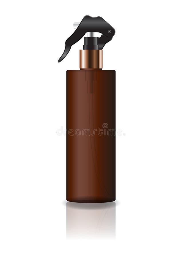 La botella cosmética del cilindro del marrón del espacio en blanco con el espray va a belleza o el producto sano foto de archivo libre de regalías