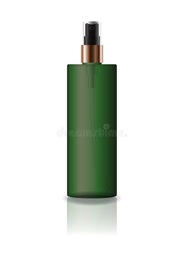 La botella cosmética del cilindro del verde del espacio en blanco con el espray presionado va a belleza o el producto sano fotos de archivo