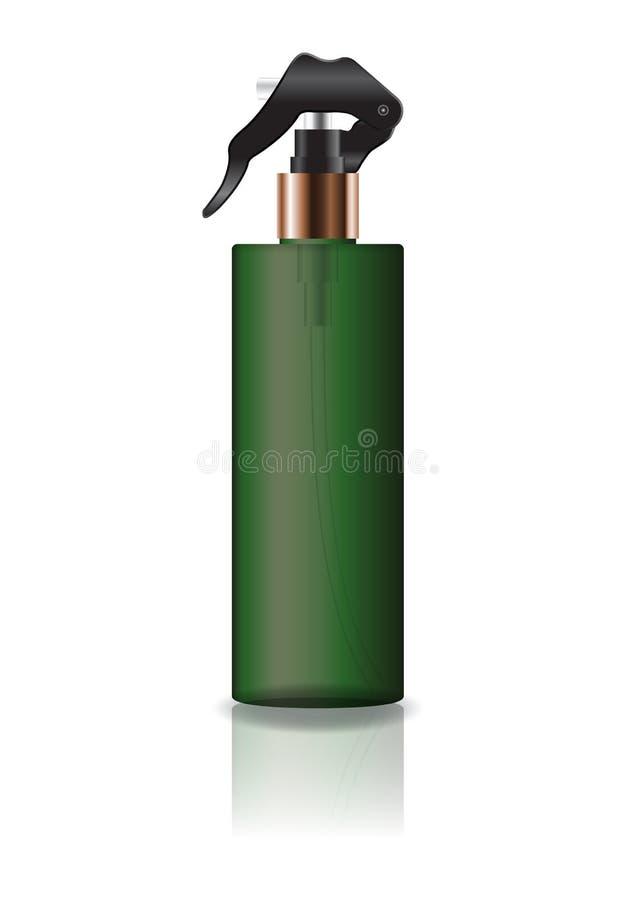 La botella cosmética del cilindro del verde del espacio en blanco con el espray va a belleza o el producto sano imagen de archivo libre de regalías
