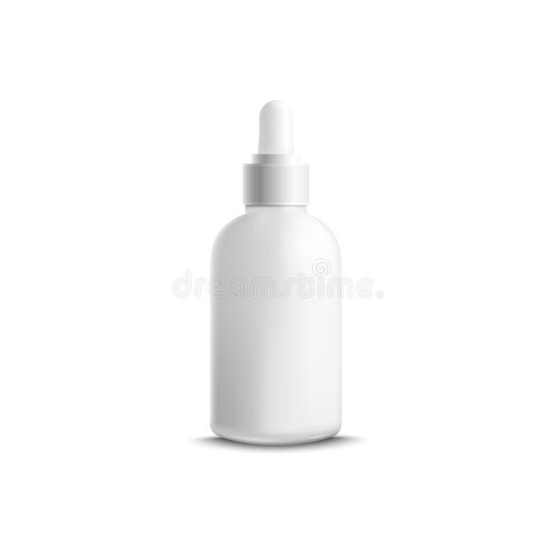 La botella cosmética para el aceite esencial o el suero con vector de la maqueta del dropper aisló libre illustration