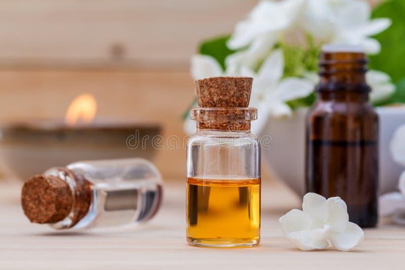 La botella de aceite esencial y el jazmín florecen con profundidad baja de foto de archivo libre de regalías