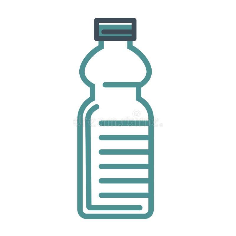 La botella de agua vacía con el casquillo aisló el ejemplo plano del esquema ilustración del vector