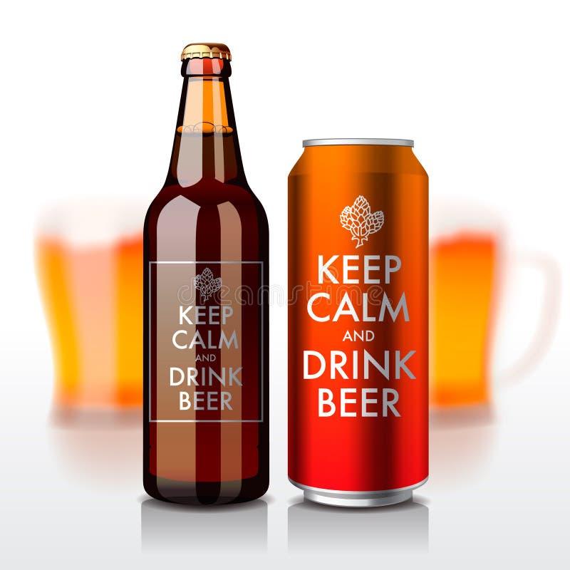 La botella de cerveza y puede con la etiqueta - guardar calma y stock de ilustración