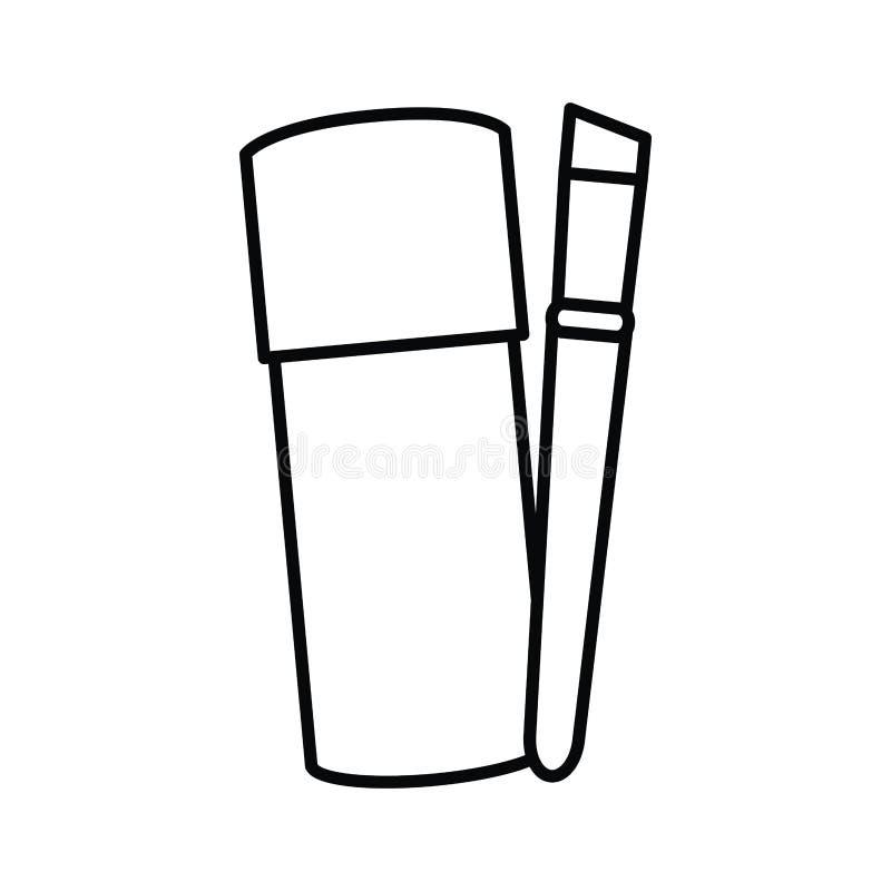 La botella de compone con el cepillo stock de ilustración