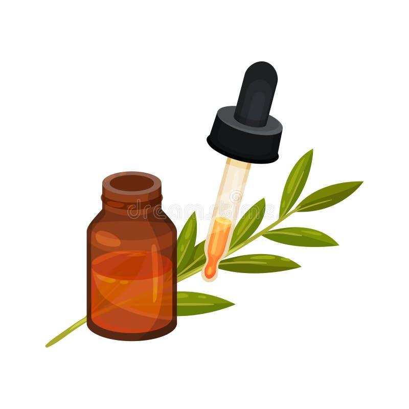 La botella de cristal de Brown de aceite esencial, mide con una pipeta con descenso y la rama con las hojas verdes Icono plano co libre illustration