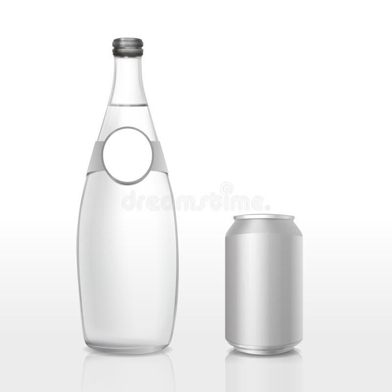 La botella de cristal y puede con la etiqueta en blanco ilustración del vector