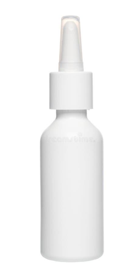La botella de descensos nasales plástica blanca con la bomba del dispensador, imita para arriba, i fotos de archivo libres de regalías