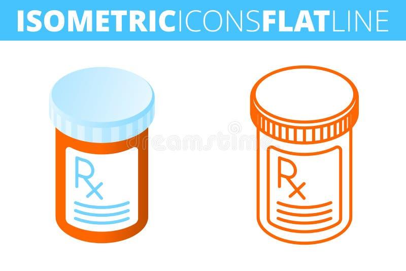 La botella de píldora Isométrico, plano 3d y sistema del icono del esquema ilustración del vector