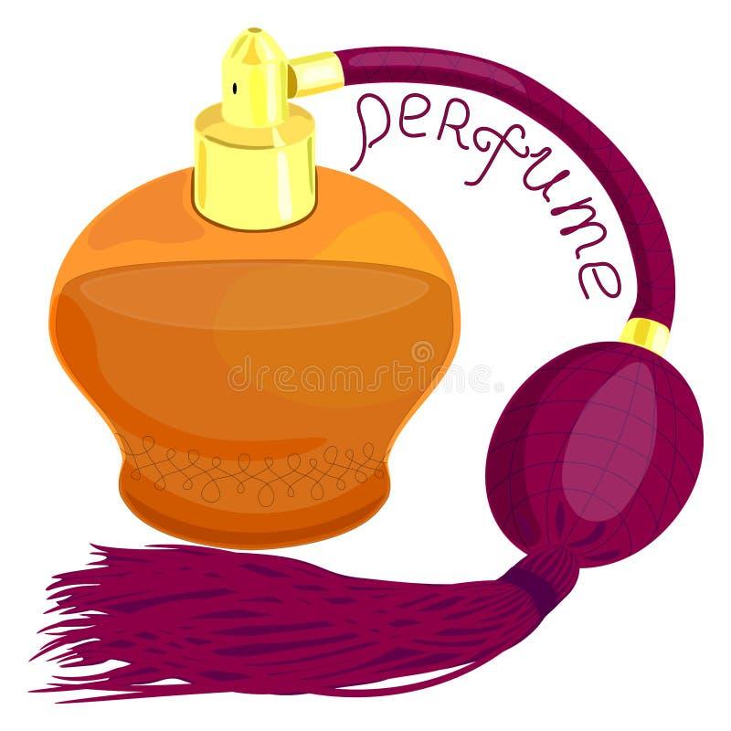 La botella de perfume es un producto cosmético, envase cosmético anaranjado con el fondo de la publicidad, stock de ilustración