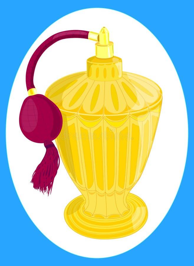 La botella de perfume es un producto cosmético, envase cosmético anaranjado con el fondo de la publicidad libre illustration