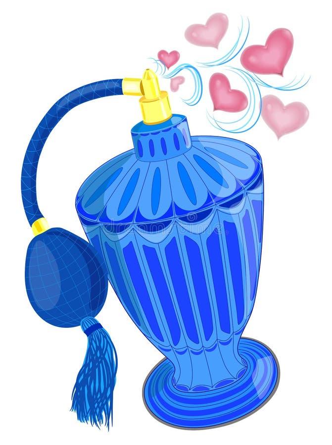 La botella de perfume es un producto cosmético, envase cosmético azul con el fondo de la publicidad ilustración del vector