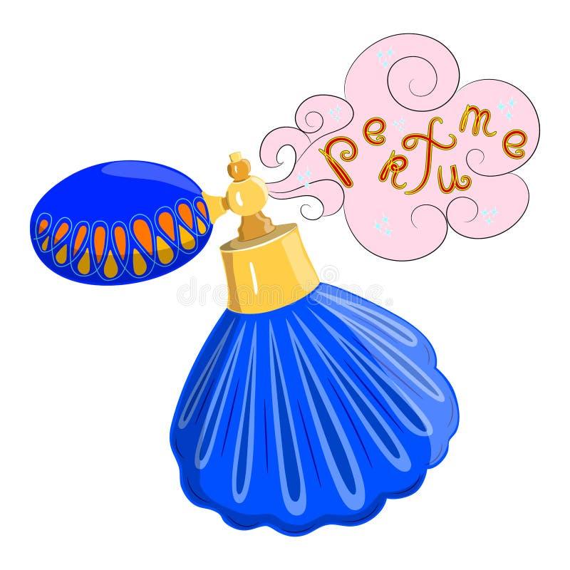 La botella de perfume es un producto cosmético, envase cosmético rosado con el fondo de la publicidad ilustración del vector
