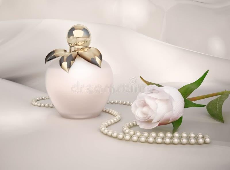 La botella de perfume, la flor de la rosa del blanco y la cadena de perlas localizaron o stock de ilustración