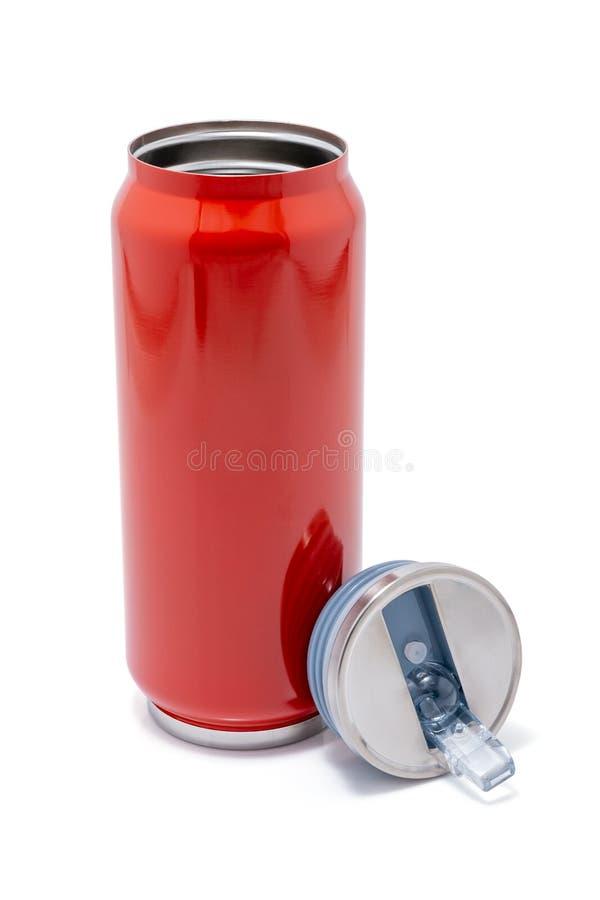 La botella de termo roja abrió el casquillo o el vaso de acero inoxidable del viaje del termo foto de archivo