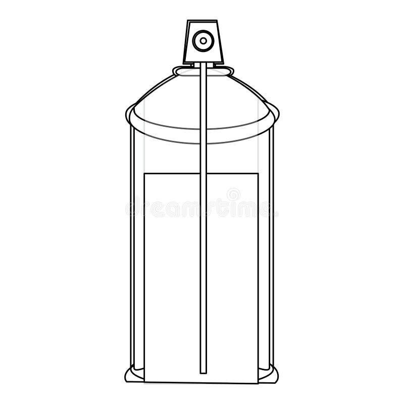 la botella interna del espray de aerosol de la opinión del contorno puede icono stock de ilustración