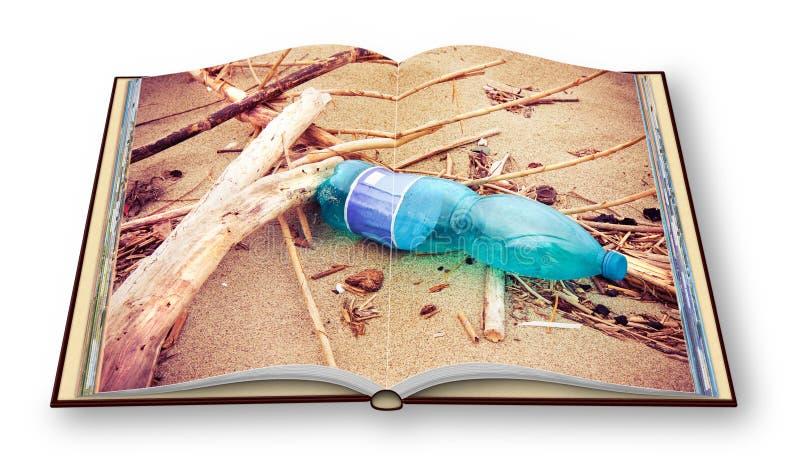 La botella plástica verde vacía abandonada en la playa - problema inútil plástico - 3D rinde imagen del concepto de un libro abie foto de archivo