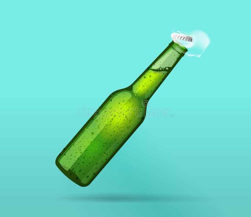 La bottiglia bagnata verde piena si è aperta con il cappuccio di volo, le bolle, fumo illustrazione di stock