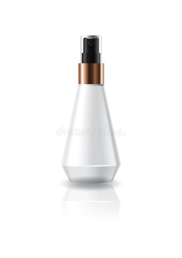 La bottiglia cosmetica bianca in bianco di forma di cono con lo spruzzo della stampa si dirige verso l'imballaggio del prodotto d royalty illustrazione gratis