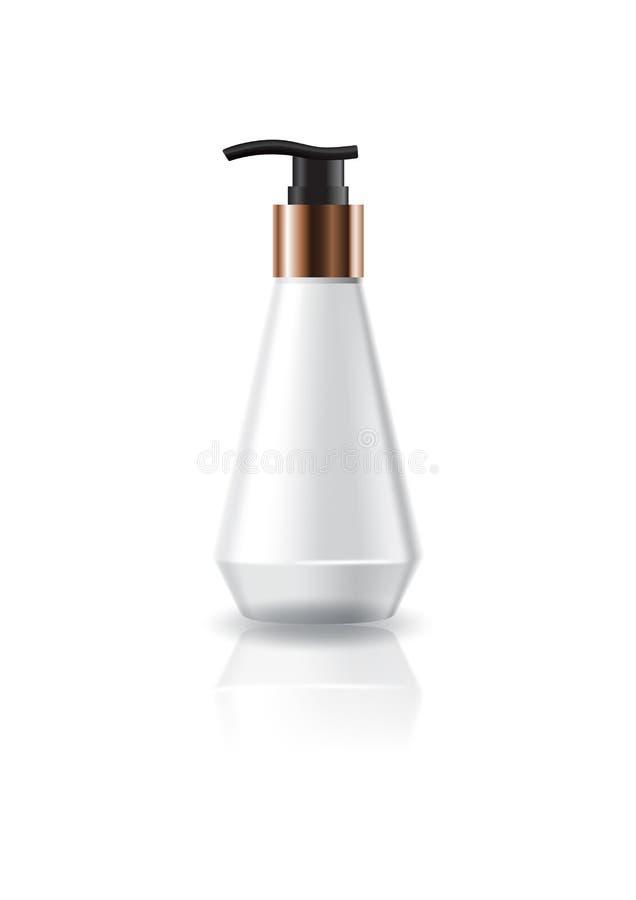 La bottiglia cosmetica bianca in bianco di forma di cono con la pompa si dirige verso l'imballaggio del prodotto di bellezza illustrazione vettoriale
