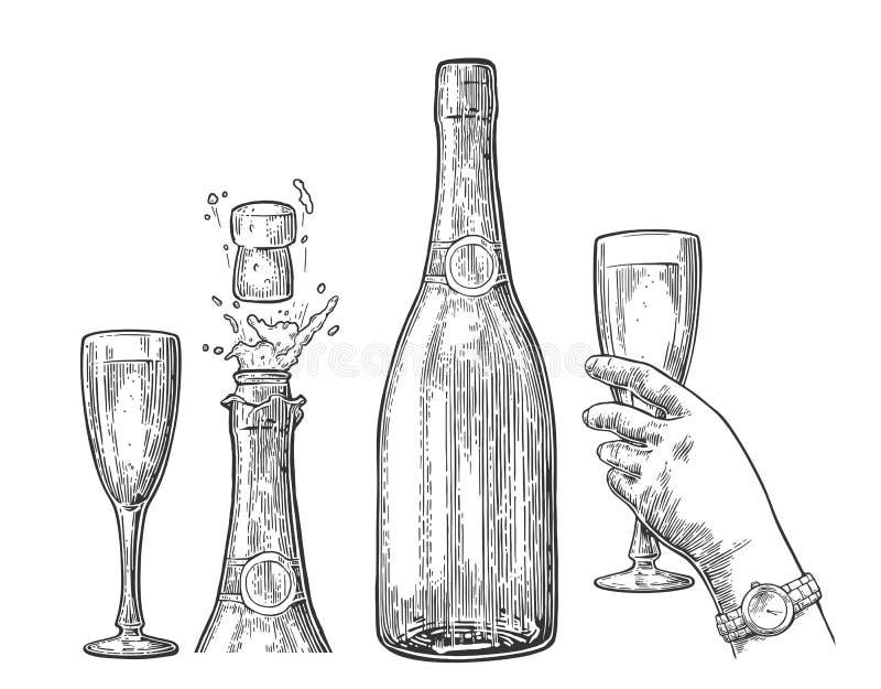 La bottiglia dell'esplosione di Champagne e la mano tengono il vetro illustrazione di stock