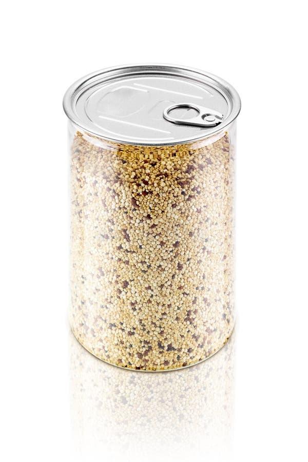 La bottiglia della quinoa bianca semina l'alimento biologico fotografie stock