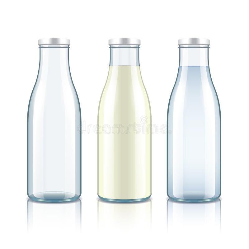 La bottiglia di vetro con latte, l'acqua e svuota illustrazione vettoriale