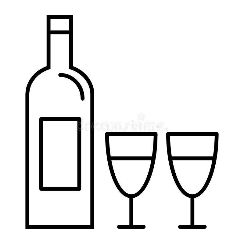 La bottiglia di vino e due vetri assottigliano la linea icona Illustrazione di vettore della bottiglia di vino isolata su bianco  illustrazione vettoriale