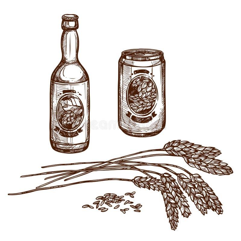 La bottiglia e la lager del progetto della birra possono vector lo schizzo illustrazione di stock