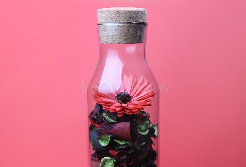 La bottiglia ed il fiore dentro fotografia stock libera da diritti