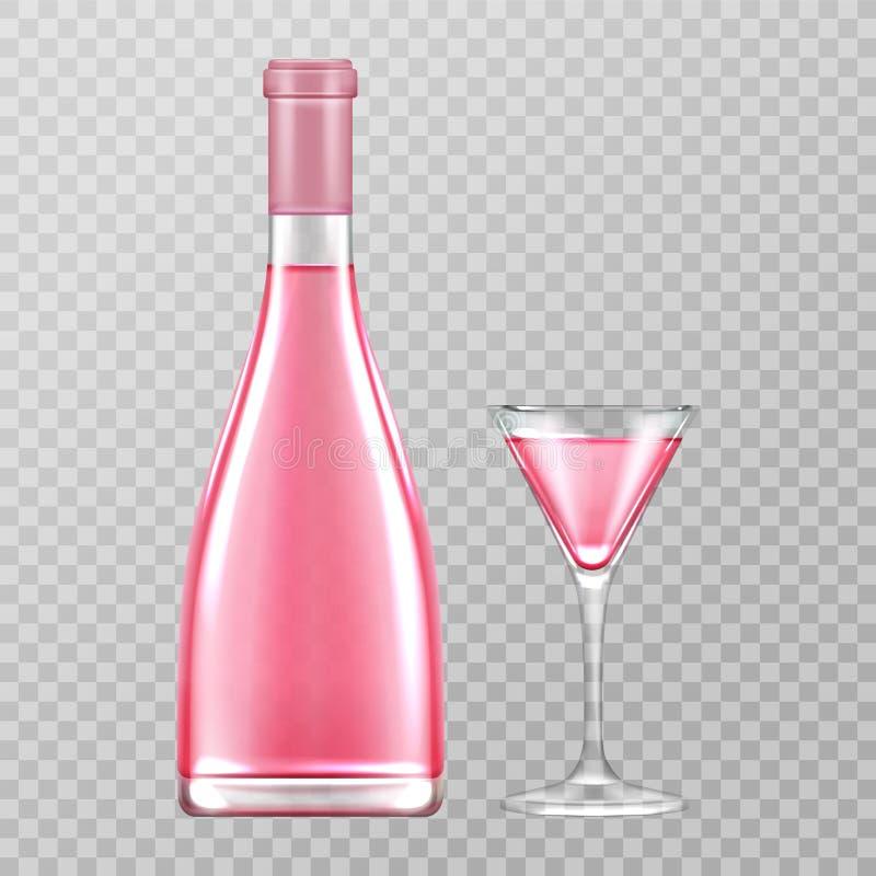 La bottiglia ed il vetro rosa del champagne, sono aumentato vino pieno di bolle illustrazione di stock