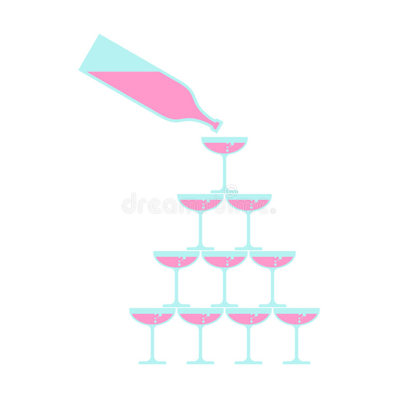La bottiglia versa il vetro della torre del champagne Alcool in campanile di vetro illustrazione di stock