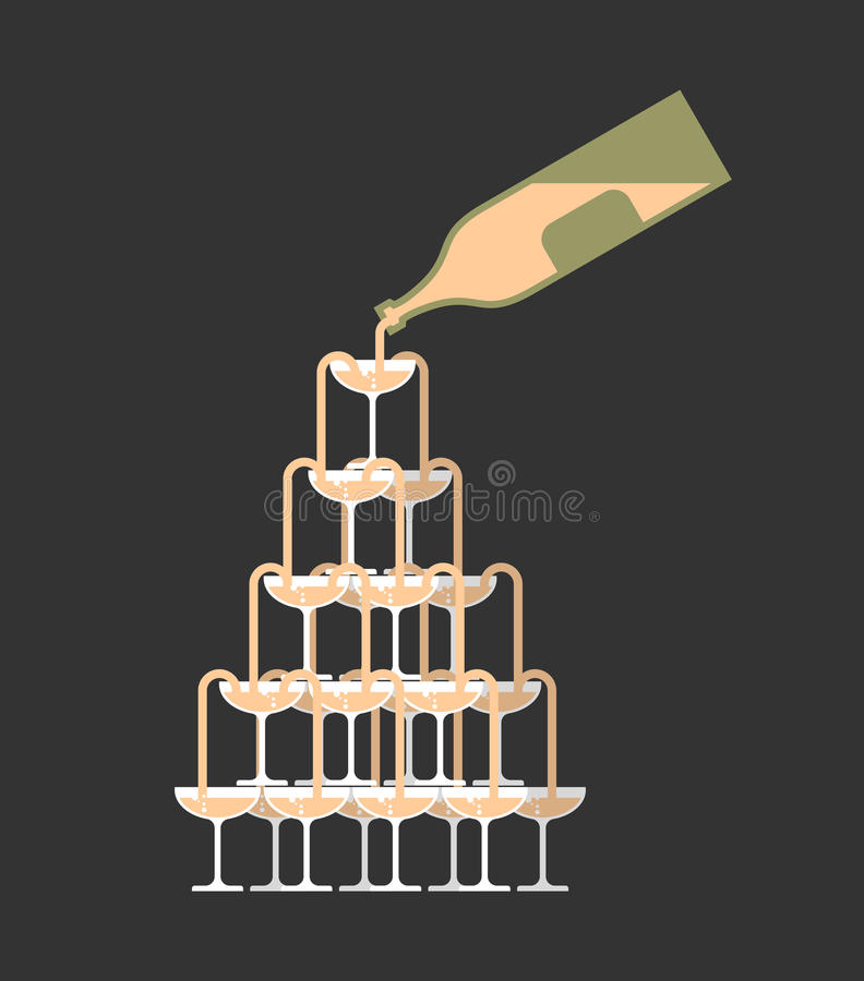 La bottiglia versa il vetro della torre del champagne Alcool in campanile di vetro W illustrazione di stock