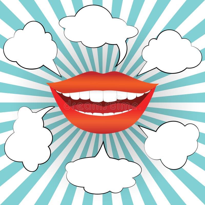 La bouche de sourire de femme de style d'art de bruit avec la parole bouillonne illustration libre de droits