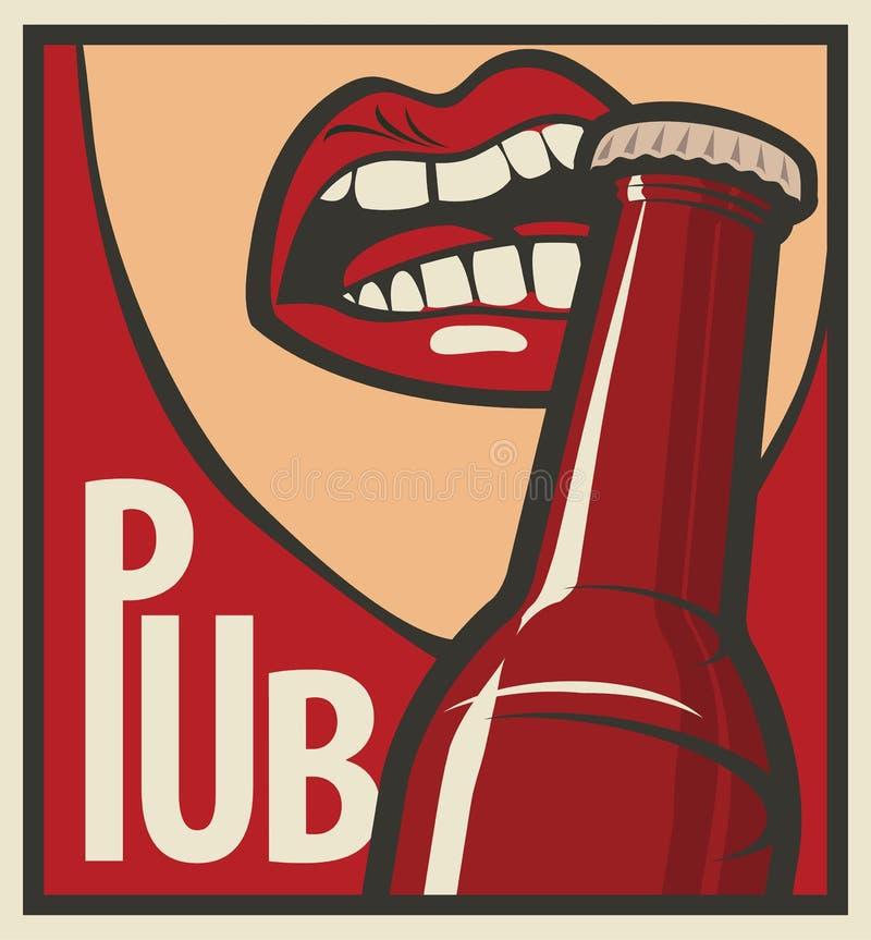 La bouche ouvre une bouteille à bière illustration stock
