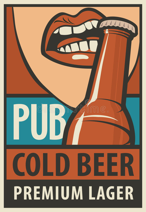 La bouche ouvre une bouteille à bière avec ses dents illustration de vecteur