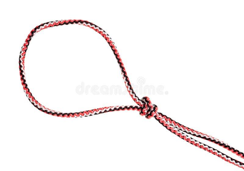 La boucle de étranglent le noeud de piège attaché sur la corde synthétique photo libre de droits