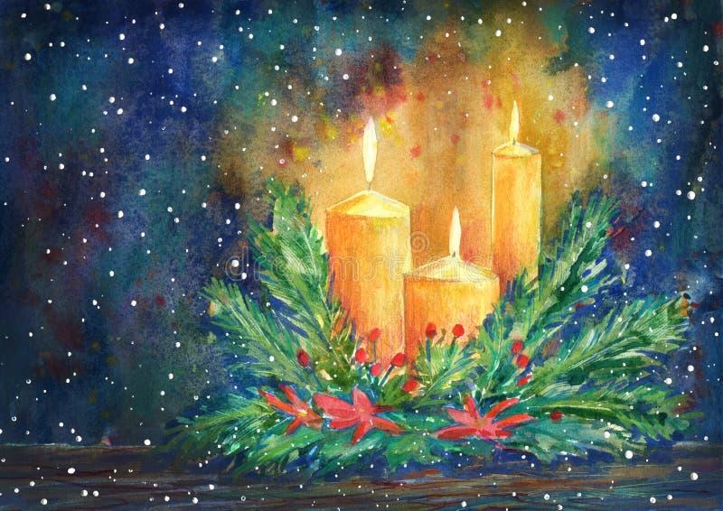 La bougie de Noël, la guirlande de sapin et la poinsettia fleurissent illustration stock