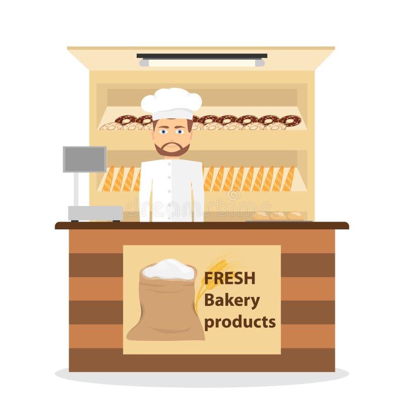 La boulangerie de boutique, boulanger vend les pâtisseries fraîchement cuites au four Pain, tarte, pâtisserie illustration libre de droits