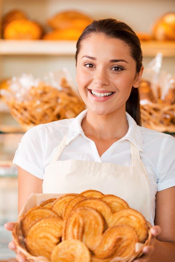 La boulangerie la plus fraîche pour nos clients images stock