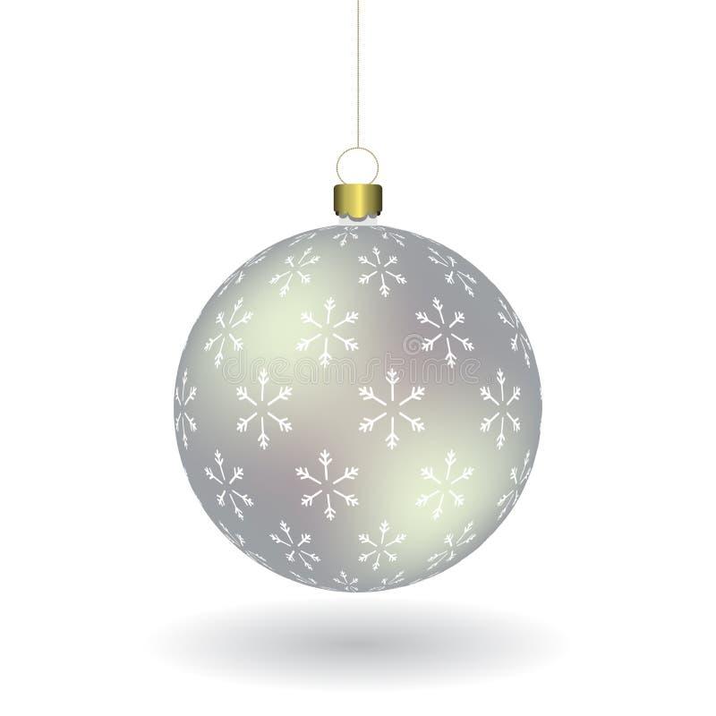 La boule argentée de Christmass avec des flocons de neige impriment accrocher sur une chaîne d'or illustration stock