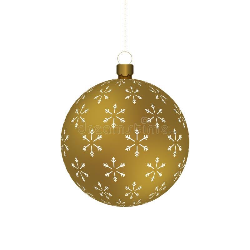 La boule d'or de Christmass avec des flocons de neige impriment accrocher sur une chaîne d'or illustration stock