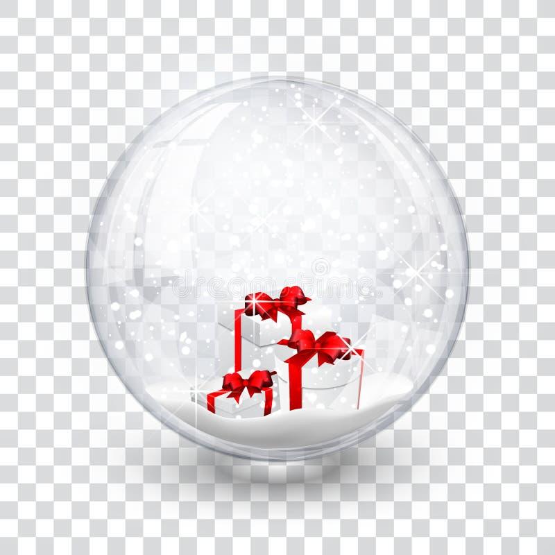 La boule de globe de neige avec des chrismas réalistes de nouvelle année de boîte-cadeau objectent d'isolement sur le fond transp illustration libre de droits