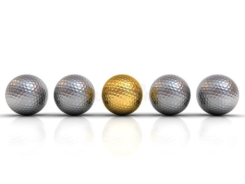 La boule de golf d'or parmi les boules de golf argentées se tiennent de la foule illustration stock