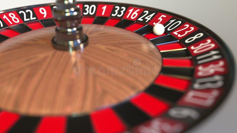 La boule de roue de roulette de casino frappe 10 dix de noir rendu 3d illustration stock