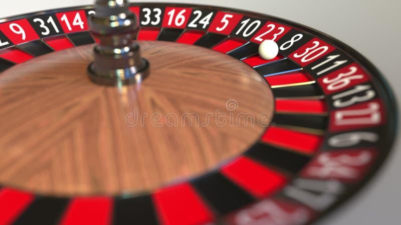 La boule de roue de roulette de casino frappe le noir 8 huit rendu 3d illustration libre de droits