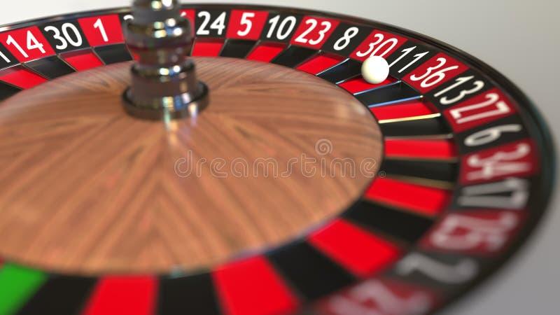 La boule de roue de roulette de casino frappe le noir 11 onze rendu 3d illustration de vecteur