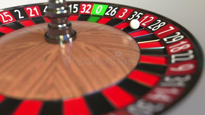 La boule de roue de roulette de casino frappe le rouge 12 douze rendu 3d illustration libre de droits