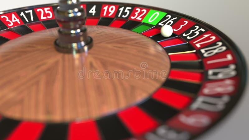 La boule de roue de roulette de casino frappe le rouge 3 trois rendu 3d illustration libre de droits