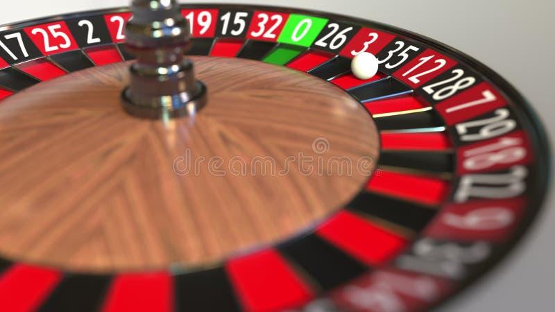 La boule de roue de roulette de casino frappe 35 trente-cinq noirs rendu 3d illustration stock