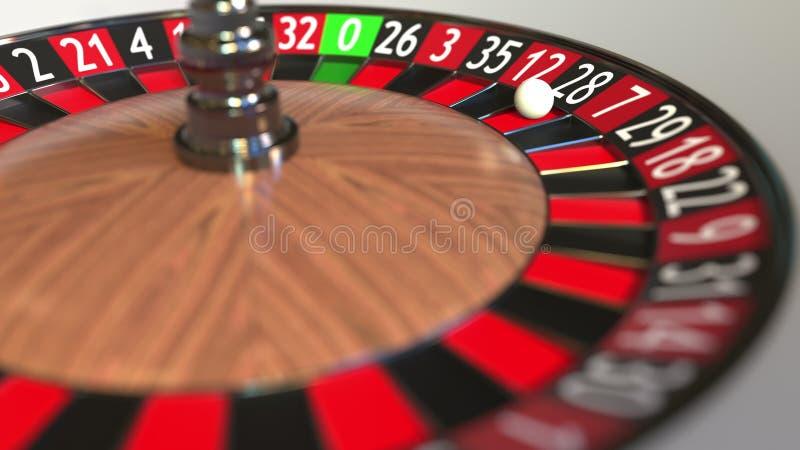 La boule de roue de roulette de casino frappe 28 vingt-huit noirs rendu 3d illustration stock